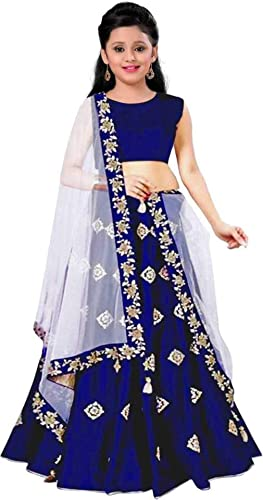 Girl S Banglory Satin Simple Embroidered Semi Stitched Lehenga Choli Blue Free Size
