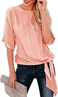 CUCUHAM Womens Casual Basic Knot Tie Front Loose Fit Half Sleeve Tee Top T-Shirt Blouse