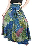 LOFBAZ Long Maxi Skirts for Women Boho Gypsy Dress Bohemian Hippie Dresses African Clothing Womens Indian Wrap Skirt Design #5 Blue & Green OS