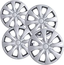 15 inch Hubcaps Best for 2008-2013 Toyota Corolla - (Set of 4) Wheel Covers 15in Hub Caps SIlver Rim Cover - Car Accessories for 15 inch Wheels - Snap On Hubcap, Auto Tire Replacement Exterior Cap