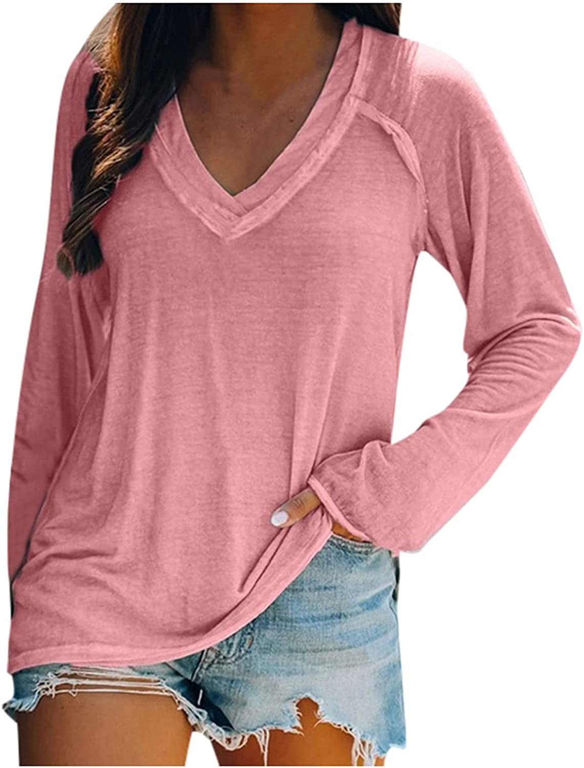 Plus Size Tops for Women Long Sleeve Shirts Casual V Neck Pullover Fashion Sweatshirts Solid Color Blouse
