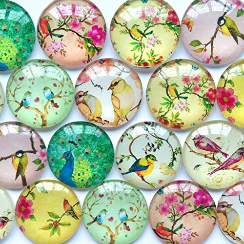 10pcs Flatback 10-25mm Glass Cabs Floral Pattern Cameo Decor Jewelry Accessories