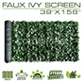"ColourTree 59"" x 138"" Artificial Hedges Faux Ivy Leaves Fence Privacy Screen Cover Panels ?Decorative Trellis - Mesh Backing - 3 Years Warranty"