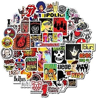Band Stickers [50pcs] Rock Roll Punk Music Sticker, Cool Graffiti Decals for Electronic Organ Guitar Piano Violin Drum Flute Brass Water Bottles Computer PC Car Helmet Skateboard Luggage Bike Bumper