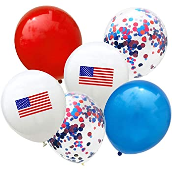 Moon Boat Patriotic Decorations Star Latex Balloons Red Blue White Fourth of July Party Supplies 115Ct