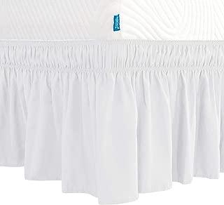 Subrtex Wrap Around Bed Skirt Elastic Elegant Soft Fabric Ruffled Fade Resistant Replaceable (Full, White)