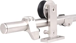 TMS 5FT European Modern Satin Stainless Steel Sliding Barn Wood Door Closet Hardware