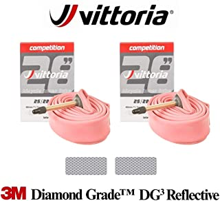 Vittoria Competition Latex SV 48mm - 2 x Road Bike Tubes Bundle with 3M Diamond Grade Reflextive Stickers