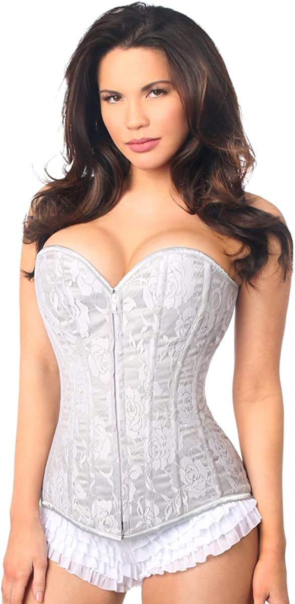Vintage Lingerie | New Underwear, Bras, Slips Daisy corsets Lavish Dark Grey Lace Overbust Corset  AT vintagedancer.com