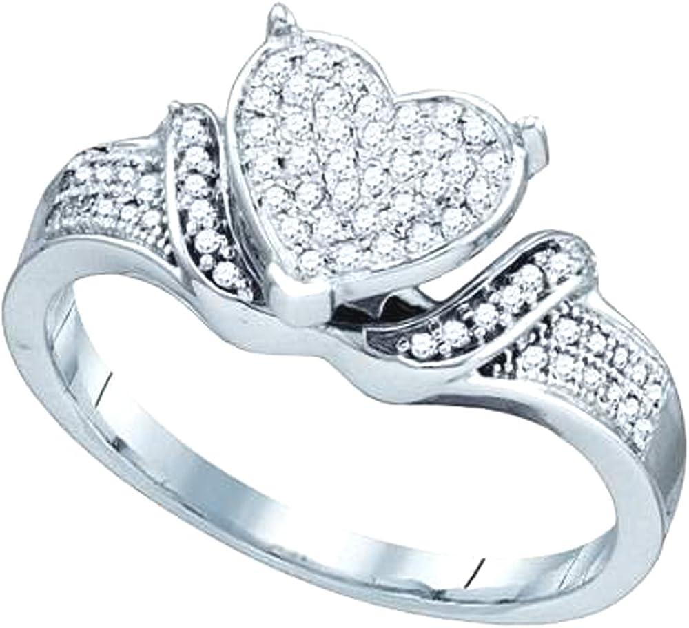Dazzlingrock Collection 0.20 Carat (ctw) 10K Round Diamond Ladies Bridal Micro Pave Heart Promise Ring 1/5 CT, White Gold