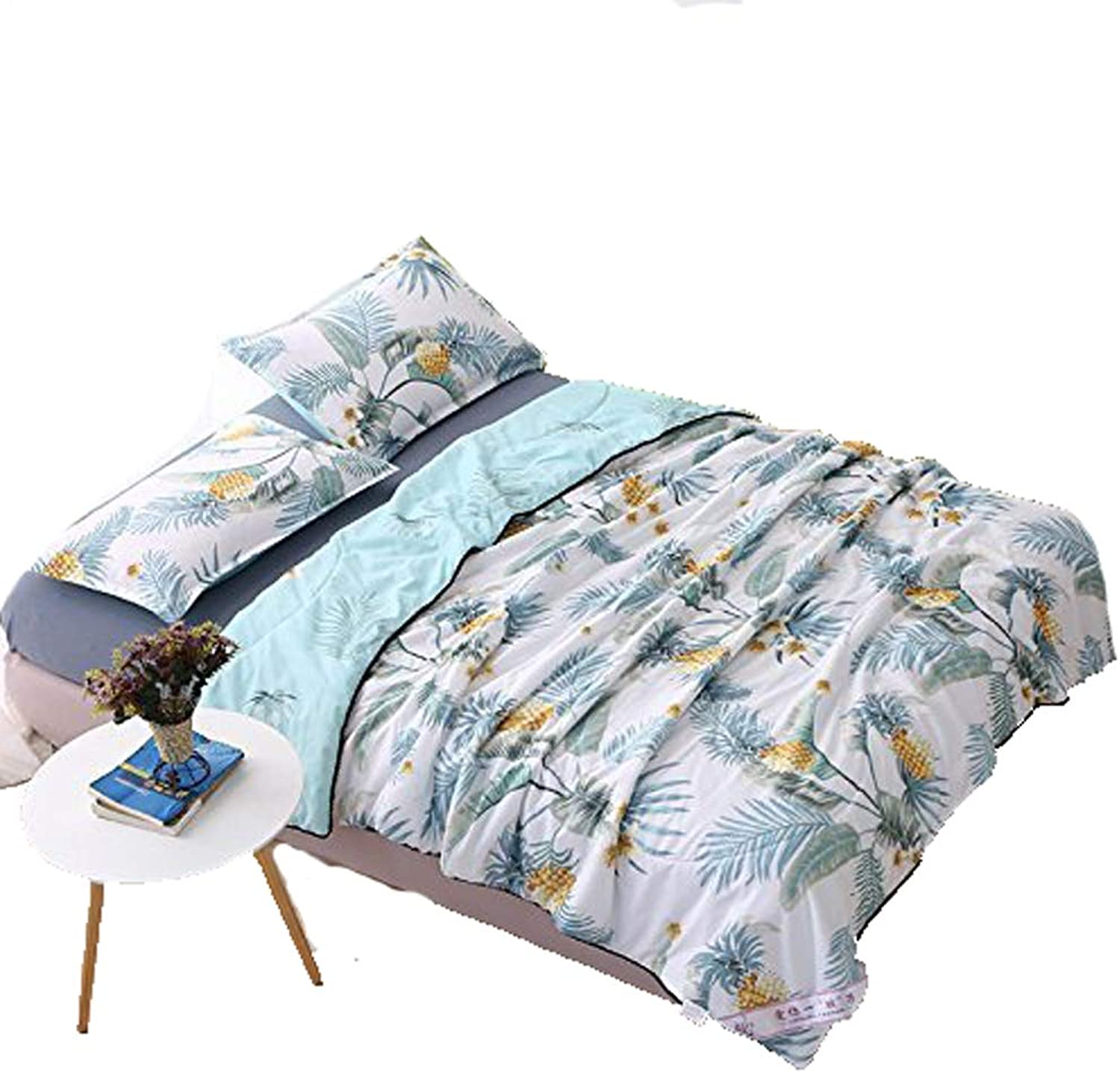 KFZ Summer Cool Quilt Comforter for Bed Set No Pillow Cover Sheets ZL Teens Twin Full Queen Size Forest Fresh Pineapple Funny Park Design for Kids Adults (Fresh Pineapple,Green, Twin,59 x79 )