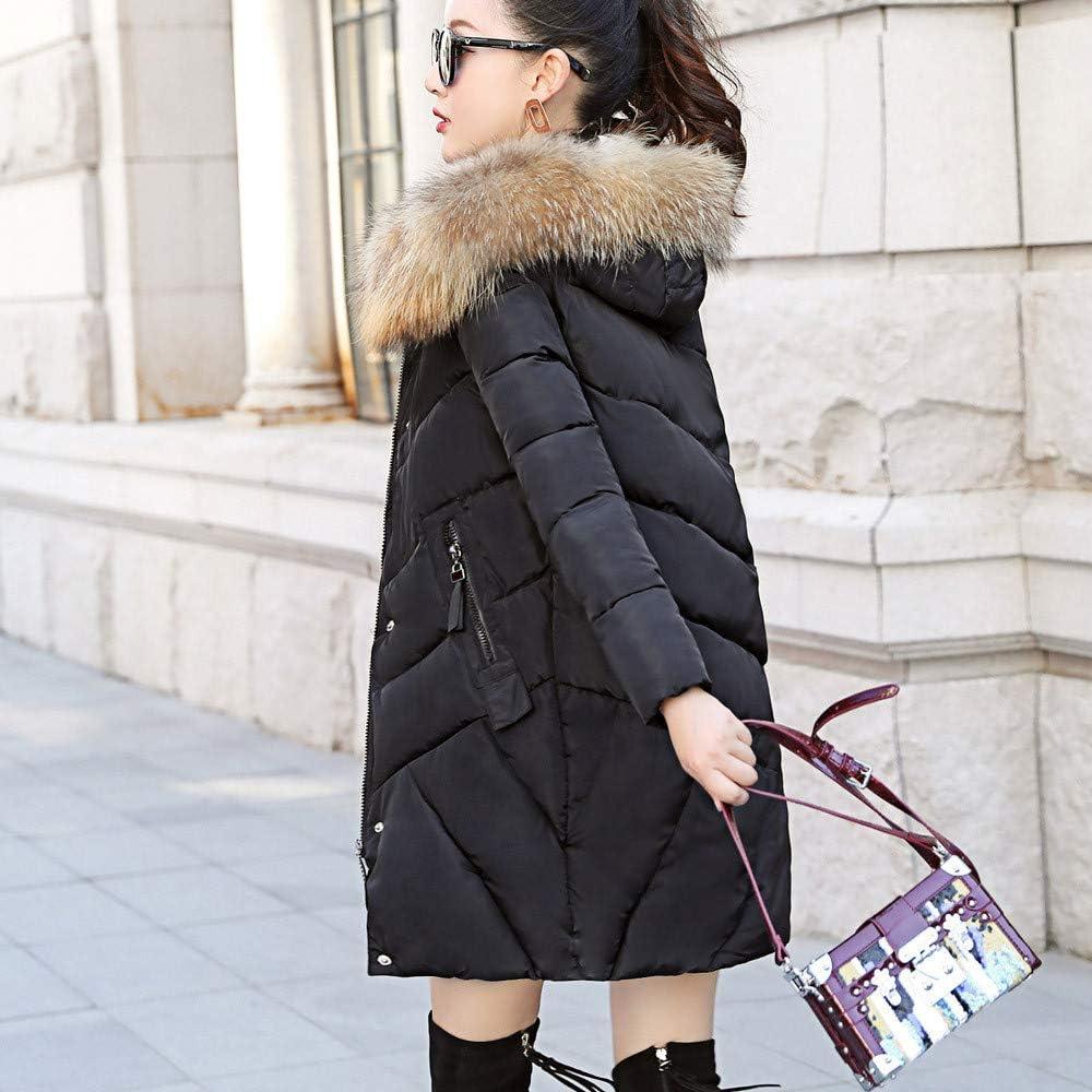 iHENGH Damen Winter Jacke Dicker Warm Bequem Slim Parka Mantel Lässig Mode Reißverschluss Frauen Herbst Lange Wollmantel Outwear Strickjacke Schwarz