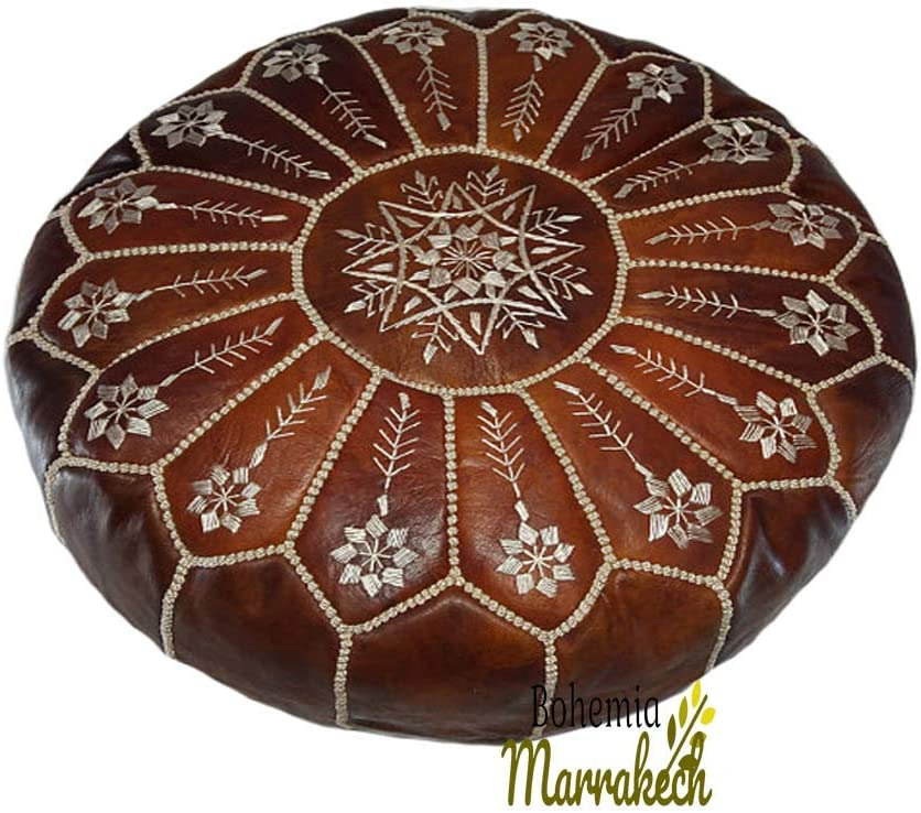 bohemiamarrakech Pouf Max 69% OFF Brown Moroccan Leather Fashion