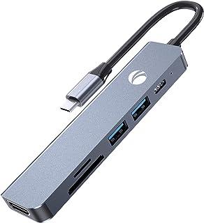 VCOM-USB C ハブ 6-in-1 ドッキングステーション HDMIハブ 変換 アダプター マルチポート usb ハブ type-c【4K対応HDMI+60W急速PD充電+USB3.0ポート*2+SD&TFカード スロット搭載】多機能タイ...