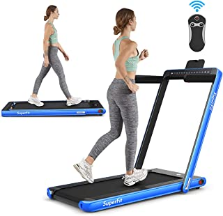 Goplus 2 in 1 Folding Treadmill with Dual Display, 2.25HP Under Desk Electric Pad Treadmill, Installation-Free, Bluetooth Speaker, Remote Control, Walking Jogging Machine for Home/Office Use