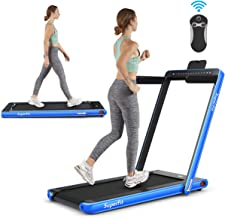 Goplus 2 in 1 Folding Treadmill with Dual Display, 2.25HP Under Desk Electric Pad..