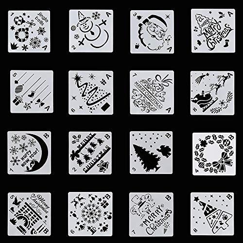 Tian Stencil di pittura di Natale di plastica 16 Pz Temi di Natale Modelli di stencil per il disegno di pittura a spruzzo sul vetro di legno, creazione di carte per l'artigianato (13 x 13 cm)