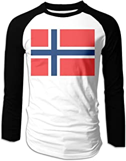 Norwegian Flag Casual Boys Long Sleeve Raglan T Shirts Round-Neck Clothes Tops for Men