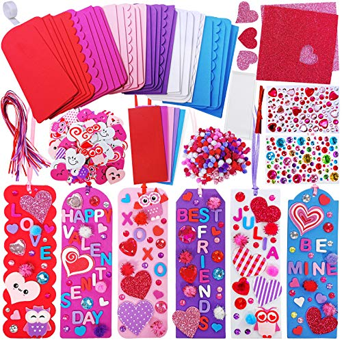 Winlyn 36 Sets Heart Bookmarks Decoration DIY Foam Bookmarks Craft Kit Foam Bookmarks with Smile Face Heart Owl Stickers Alphabets for Kids Valentine's Day DIY Arts Reading