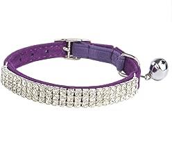 BINGPET Adjustable Cat Collar Soft Velvet Safe Collars Bling Diamante with Bells