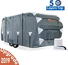 KING BIRD Upgraded Travel Trailer RV Cover, Extra-Thick 5 Layers Anti-UV Top Panel, Deluxe Camper Cover, Fits 18'- 20' RV Cover -Breathable, Water-Repellent, Rip-Stop with 2Pcs Straps & 4 Tire Covers