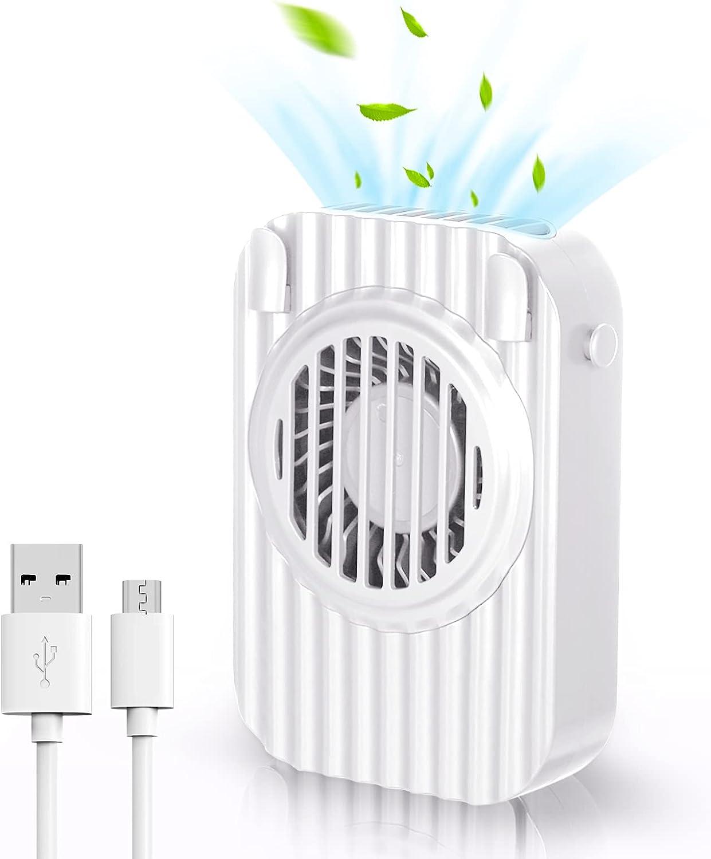 Gulito Portable Personal Hands-Free Fan - Mini Fan USB Rechargeable Wearable Mute Lazy Fan Neck Fan 3 Speeds Bladeless Fan Design, For Running Travel Sport Outdoor Camping Office (white)