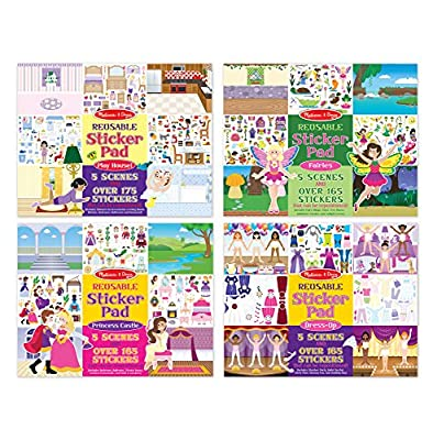Melissa & Doug Reusable Sticker Pad Bundle - Fairy, Princess, Dress-Up and Play House