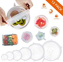 Silicone Stretch Lids, 12 Pack Reusable Durable and Expandable Lids to Keep Food Fresh, Fit Various Sizes and Shapes of Containers Food Covers or Bowl Covers, 6 Sizes, White