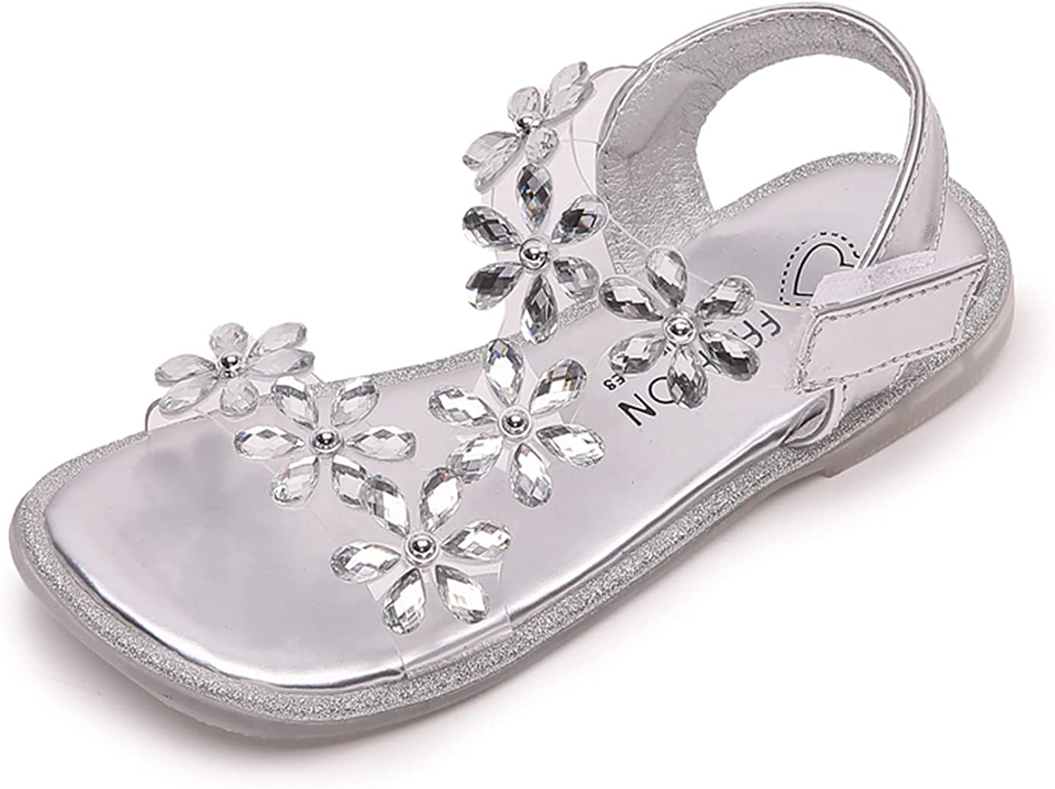 JUBAIYUAN Breathable Glitter Rhinestone Princess Ballet Flats, Suitable for Toddlers