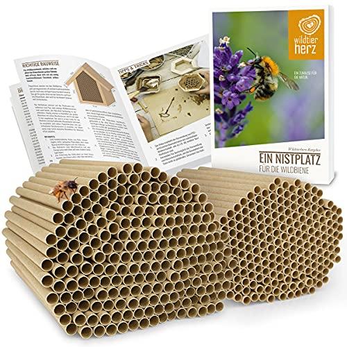 wildtier herz I 200 Insektenhotel Nisthülsen Ø 6 und 8 mm, E-Book, längere Lebensdauer als Pappröhrchen aus Papier, Niströhren Füllmaterial Nisthilfe Bienen, Wildbienen