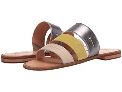 FRYE AND CO. Evie 3 Band Slide (Lime Multi Metallic Full Grain/Suede/Waxy Full Leather) Women