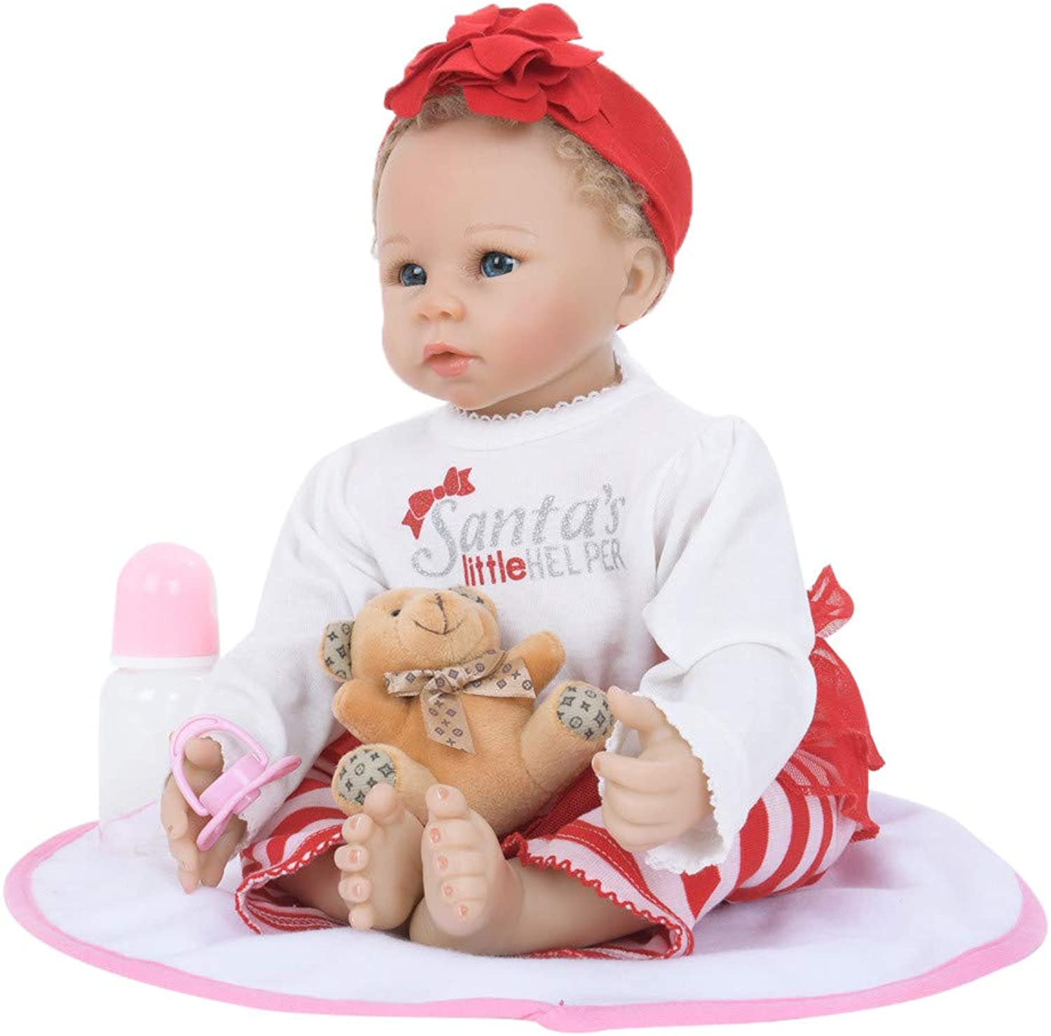 Wokee Reborn Baby Doll Soft Simulation Silicone Vinyl 22inch Realistic Xmas Present Santa's Little Helper Educational Dolls