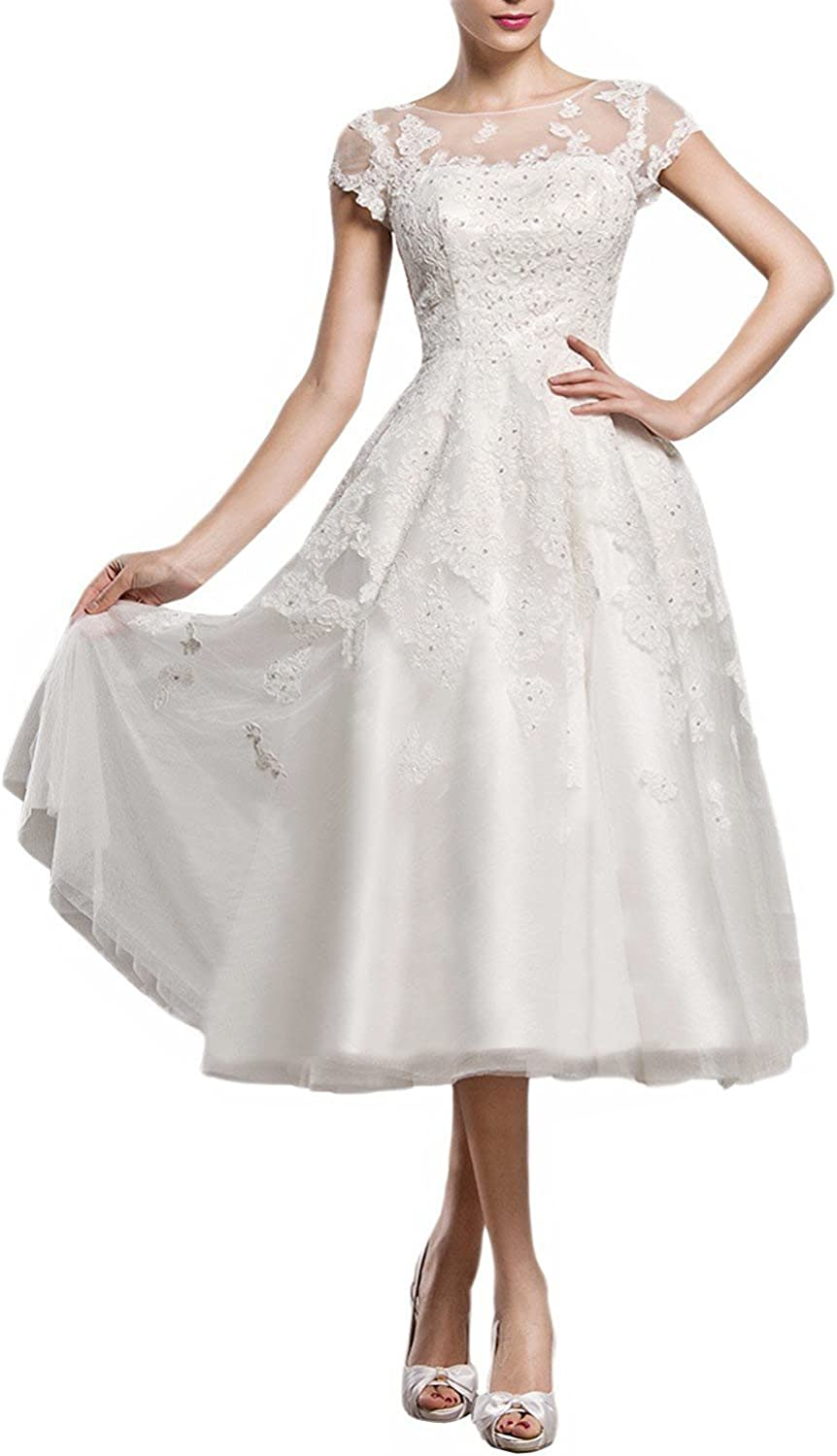 JQLD Womens Tea Length Lace Tulle Wedding Dress Cap Sleeve A Line Bridal Gown