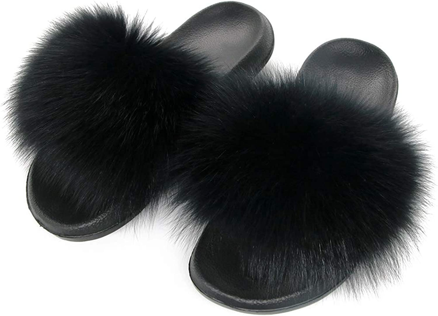 Winter Women Fur Slippers Female Sandals Heart-Shaped Mixed colors Fluffy Slides Home Plush shoes