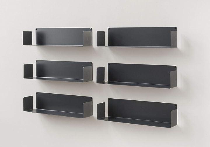 6 mensole acciaio - bianco - 60 cm, d 15 cm, h 15 cm  teebooks B00IYKDWMG