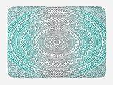Ambesonne Grey and Aqua Bath Mat, Ombre Traditional Universe with Tribal Geometric Mandala Artwork, Plush Bathroom Decor Mat with Non Slip Backing, 29.5' X 17.5', Aqua Grey