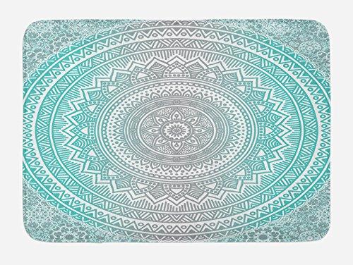 "Ambesonne Grey and Aqua Bath Mat, Ombre Traditional Universe with Tribal Geometric Mandala Artwork, Plush Bathroom Decor Mat with Non Slip Backing, 29.5"" X 17.5"", Aqua Grey"