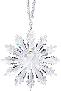 2020 New Edition Glass Snowflake Hanging Ornament with Crystal Beads Chain,Color Ribbon and Gift Box(Clear)