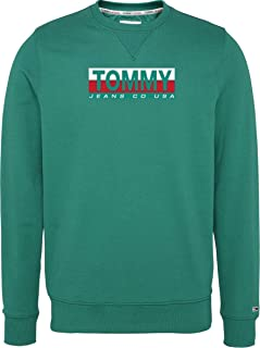 Tommy Jeans Tjm Essential Split Box Crew Maglione, Verde Midwest, XL Uomo