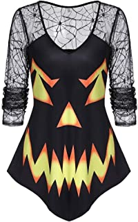 Women Pumpkin Face Print Pullover for Halloween TPS Long Sleeve Sweatshirt for Ladies