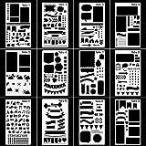 Hemore bala revista plantilla plástico planificador plantillas dibujo DIY diario/cuaderno/diario/Scrapbook plantilla Stencil 4 x 7 pulgadas, 12 piezas