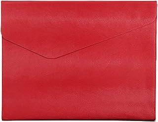 Cartera de piel con sobre, tamaño A4, para negocios, reuniones, conferencias, color rojo