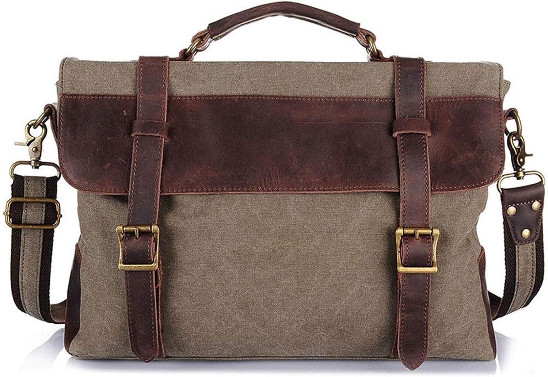 Men's Women Satchel Messenger Canvas Bag Vintage Shoulder Leather School Military Sling Backpack Tote for Gym Travel Work Laptop