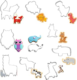 Animal Cookie Cutter Set,10 pcs Jungle Animals Cookie Cutters Stainless Steel Biscuit Mould for DIY Baking Cake Fondant Pastry Bakeware Decoration Biscuit, Fondant, Fruit, Bread
