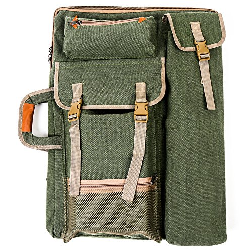 Tourwin Canvas 4K Artist Portfolio Carry Shoulder Bag Multifunctional Drawboard Bags for Drawing Sketching Painting (Army Green)