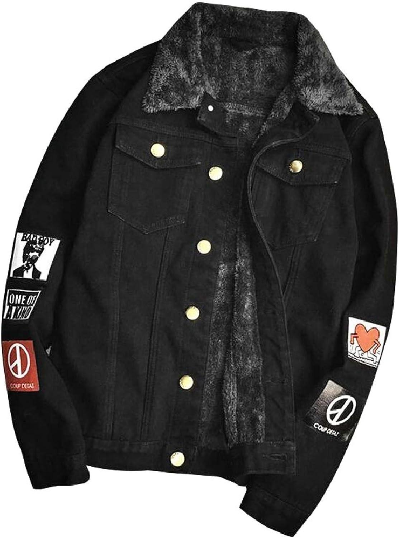 630ae2881b5 Smeiling-CA Mens Single-Breasted Loose Fleece Lined Denim Jeans Jacket  Jacket Jacket Coat bda581