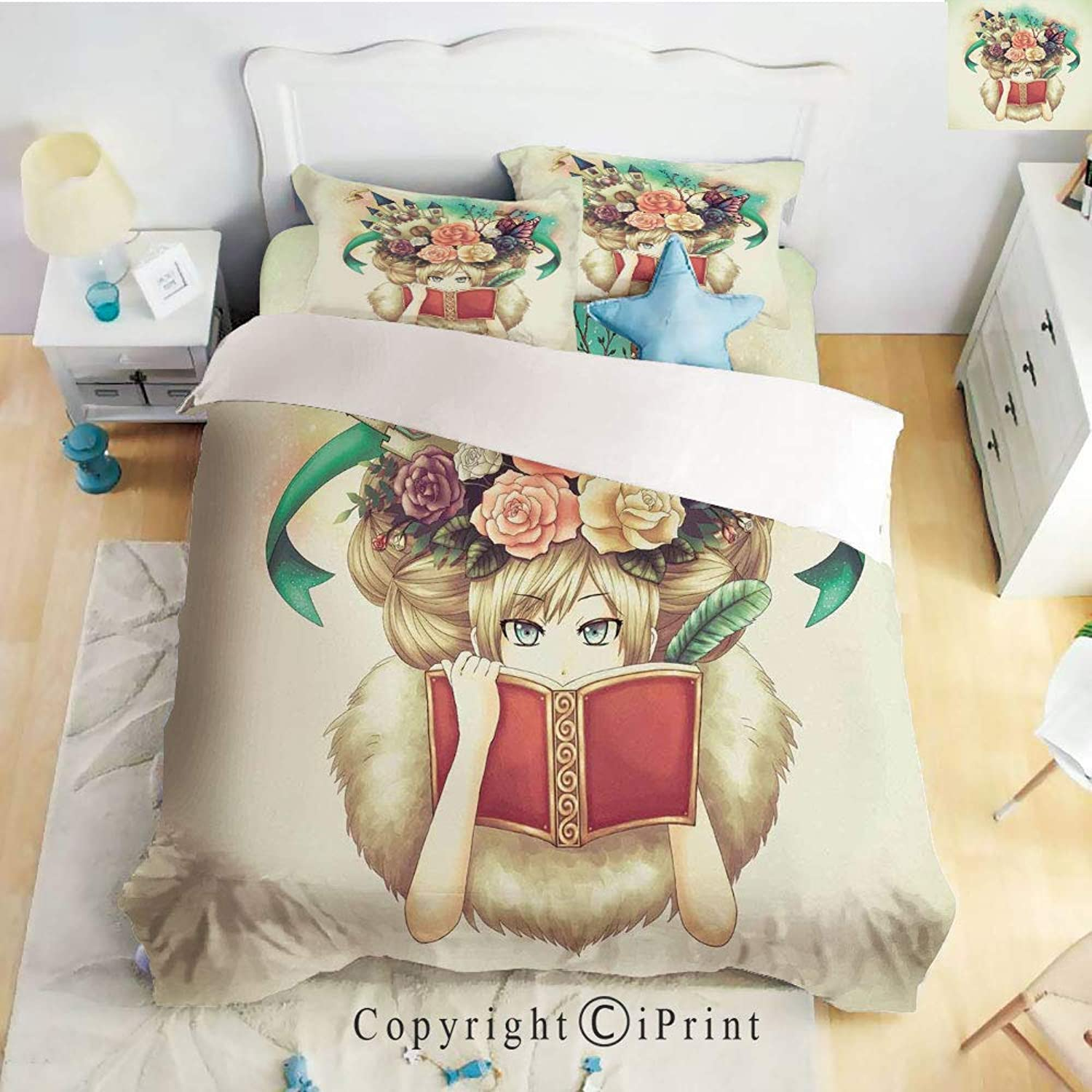 Homenon Luxury 4Piece Bed Sheet,Hide Zipper Closure,Creative Girl Reading with Medieval Castle Butterfly pinks Bird Dream World Print,Multicolor,King Size