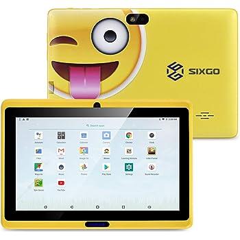 Kinder Tablet, SIXGO 7-Zoll-Android-Pads Kleinkindtablett Kids Edition-Tablet mit WiFi-Doppelkamera Kindertablett 1 GB + 16 GB Kindersicherung, Google Play Store (gelb)