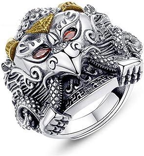 Anello da uomo in argento sterling regolabile a mano, gioielli regalo personalizzati con ali di Dapeng retrò.
