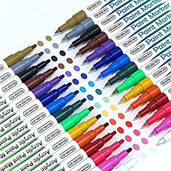 Paint Pens Shuttle Art 30 Pack Acrylic Paint Markers with Extra-Fine and Fine Tip Low-Odor Water-Based Quick Dry Paint Markers for Rock Wood Metal Plastic Glass Canvas Ceramic